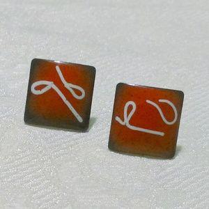Vintage Mid Century Red Enamel On Copper Earrings